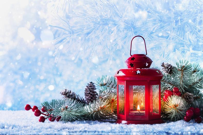 Christmas lantern wintry scene