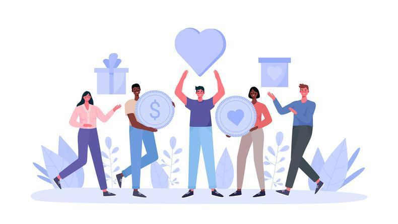 illustration of five people standing together