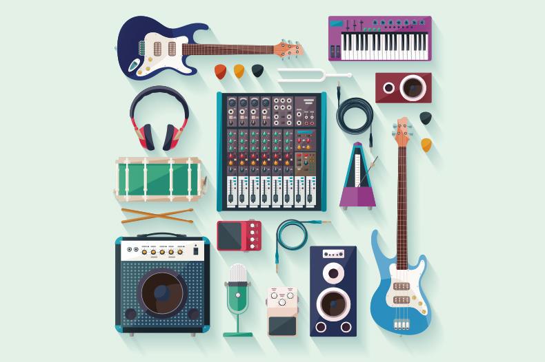 amplifier, electric guitar, microphone