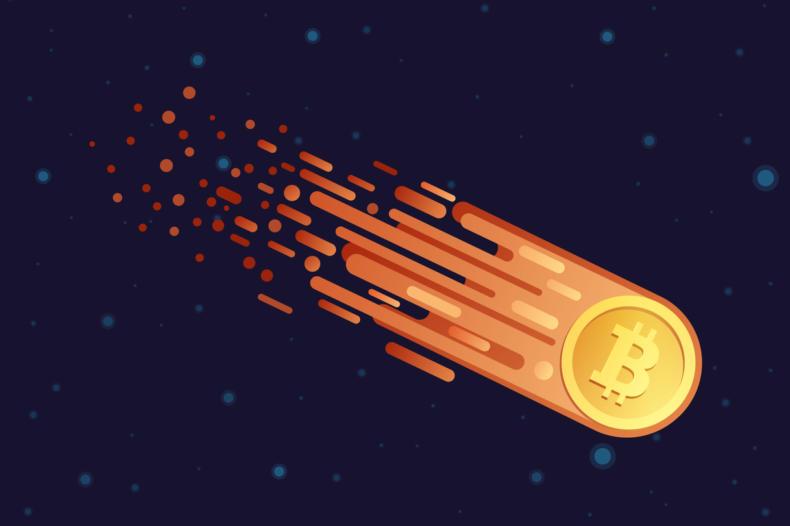 Bitcoin flying through space